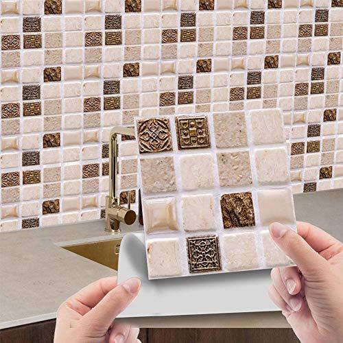 10 pegatinas de azulejos para baño, pegatinas de azulejos de cristal 3D para cocina, autoadhesivas, desmontables, para casa, cocina, baño, azulejos de pared (10 x 10 cm)