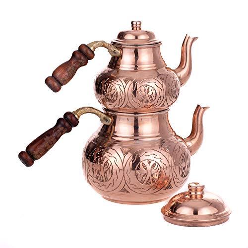 Tetera turca de cobre para tetera y hervidor de té de Caydanlik – Turca Demlik (tetera de repuesto) – Oriental turco...
