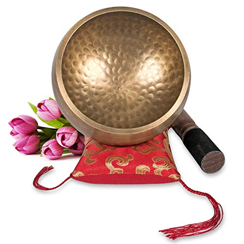 Tibetan Singing Bowl Set ~ Maha Bodhi 4.5 Inch Wide Authentic Meditation Gong for Relaxation, Chakra Healing, Stress Reducer, Yoga and Spiritual Mind ~ Artisan Hand Hammered ~ Perfect Gift