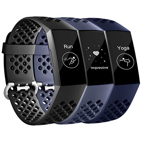 Wepro für Fitbit Charge 3 Armband/Fitbit Charge 4 Armband, Atmungsaktiv Wasserdichter Sport Ersatz aus Weichem Silikon Armband für Fitbit Charge 3 / Charge 4 / SE, S Schwarz/Blau/Blau Grau