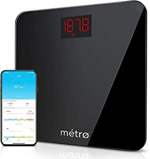 Metro-Scales Digital Bathroom Scale for Body Weight, Bluetooth Smart Weight and BMI Scale with Free Mobile App, Multiple Users, 400Lbs, Black