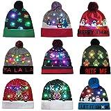Dasongff Weihnachtsmütze Festlicher Hut Elektronische LED Bunte Lichter Beleuchten Faser Weihnachtsmann Warm bleiben Pompom Acryl Stricken Elch Weihnachtsmuster
