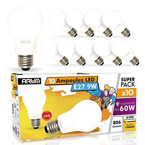 Lots de 10 Ampoules LED E27 9W Equi 60W Non-Dimmable Blanc Chaud