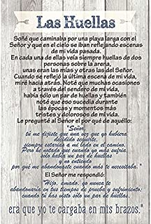 Dexsa Las Huellas - Footprints - Inspirational Saying in Spanish 6x9 Wood Plaque with Easel and Wall Hanger