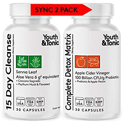 Colon Cleanser & Complete Detox Matrix | Synergic Value Kit w/Highly Rated Formula for 15 Day Cleanse & Full Body Detox | Colon Health Probiotic w/Senna ACV Aloe Vera | Kick Off Weight Management