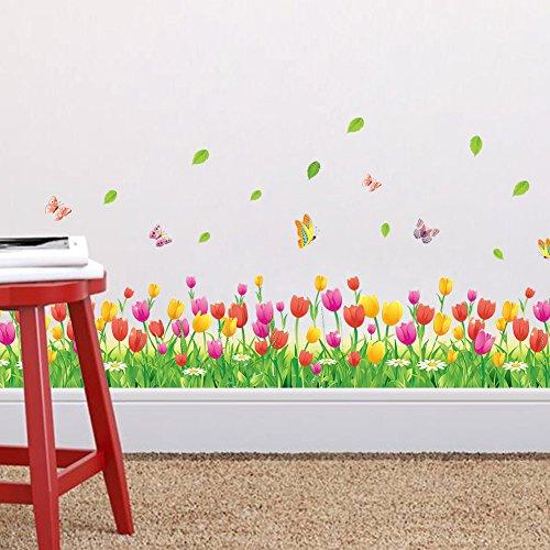 Zooarts Pegatina de Vinilo para Pared de tulipán, Flores y Mariposa