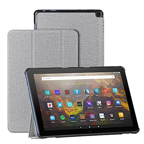 Foluu Hülle für Fire HD 10/Fire HD 10 Plus 2021, Auto Sleep/Wake Magnetic dünn leicht mit dreifach faltbarem Ständer Smart PU Schutzhülle für Amazon Fire HD 10 Tablet 11. Generation 2021 (grau)