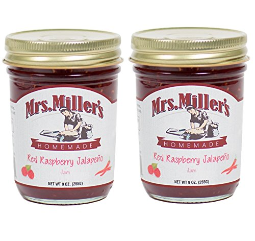 Mrs Millers Jalapeno Red Raspberry Jam (Amish Made) 9 Ounces - 2 Pack