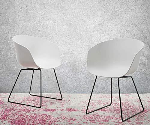 DELIFE 2er-Set-Stuhl Laric Kunststoff Weiß Gestell Metall Schwarz