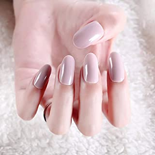 Asooll 24PCS False Nails Pink Glitter Glossy Cover Fake Nails Press on Long Tip Nails Wedding Birthday Party Acrylic Nails for Women and Girls