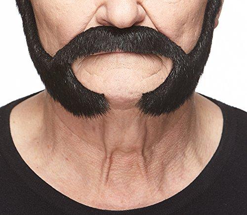 Mustaches Auto-Adhésives, Nouveauté, Pedal to The Metal Fausse Barbe, Faux Cheveux Faciaux, Noire Brillante Couleur
