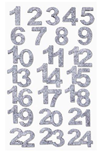 Hobbyfun Filz-Adventszahlen 1-24 hellgrau-meliert