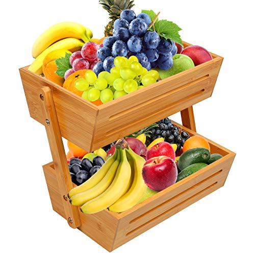 Widousy 2-Tier Bamboo Fruit Basket, Fruit Stand for Kitchen Countertop, Vegetable Produce Bread Storage Holder