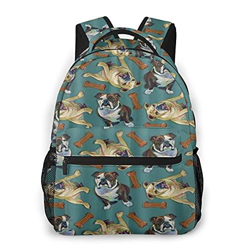 COVASA Mochila escolar de estilo informal,mochila de viaje,patrón de huesos de bulldog inglés,mochila grande y liviana para estudiantes,niños y adultos,para computadora portátil de 15.6