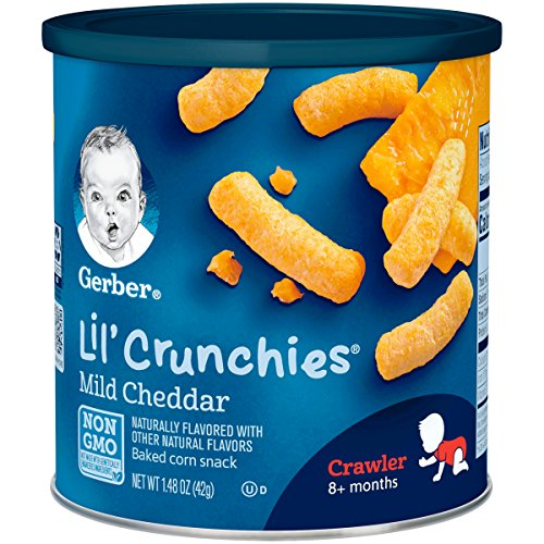 Gerber Lil' Crunchies Mild Cheddar, 1.48 Ounce Canisters (Pack of 6)