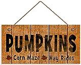 MAIYUAN Autumn Sign,Pumpkins Sign, Corn Maze, Hay Rides, Fall Season Decor, Rustic Distressed Style, 12x6 Sign(CYL2443)