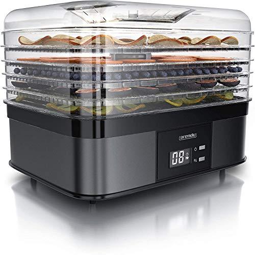 Arendo - Essiccatore Elettrico a 5 ripiani - 350 W - Disidratatore per alimenti frutta verdura carne funghi - timer fino a 36 h - 40-70 gradi C - BPA Free – Essiccatrice Cool Grey