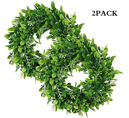 LSKYTOP 2 Pack Boxwood Wreath Round Wreath Artificial Wreath Green Leaves Wreath Door Wall Window Decoration,11Inch/PC