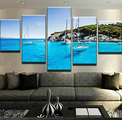 ELSFK Cuadro En Lienzo Isla de los Barcos de Aguas Azules Impresión De 5 Piezas Material Tejido No Tejido Impresión Artística Imagen Gráfica Decor Pared 100x55cm