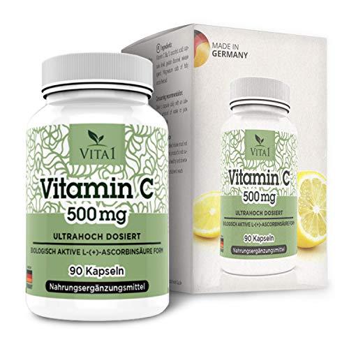 Cápsulas de Vitamina C 500mg de VITA1 • 90 cápsulas (3 meses de suministro) • sin gluten, kosher y halal • Hecho en Alemania