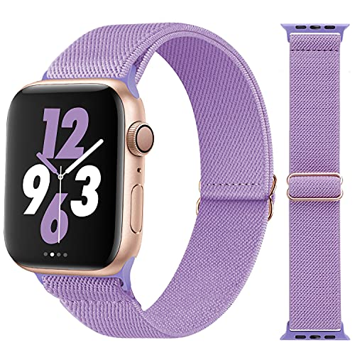 Acrbiutu Stretchy Solo Loop Nylon Bands Compatible with Apple Watch 38mm 40mm 42mm 44mm, Adjustable Braided Stretch Elastics Strap for iWatch Series 6/5/4/3/2/1 SE, Lavender 42mm/44mm