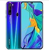 YHDD teléfono Android P35 6.2 pulgadas gran gota de agua pantalla móvil huella digital todo en uno 6 GB + 128 GB bajo costo sistema Android 9.0 Smartphone (color: azul)