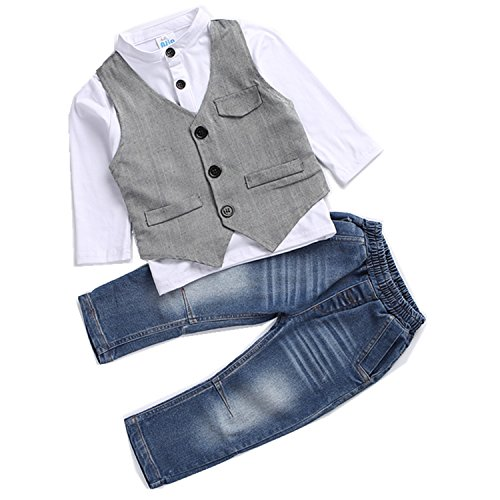 Kids Boys Clothing Sets Shirt and Vest Jeans Clothes Suit for 2...