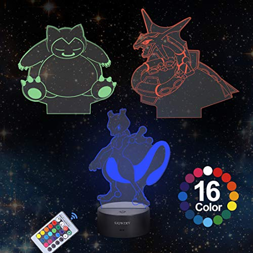 3D Illusion Night Light Desk Lamp, 16-Colors and 3-Pattern with Remote Control,USB Powered LED Lights with Touch Switch for Kids Gifts Home Decoration