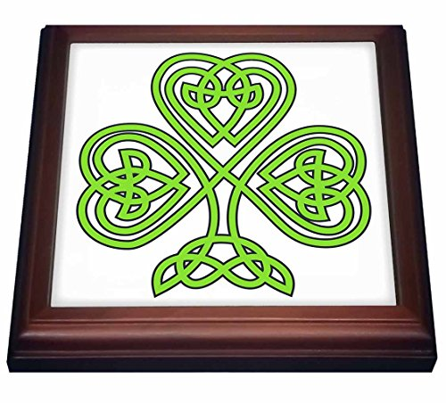 3dRose Celtic Shamrock Trivet with Ceramic Tile, 8 by 8', Brown