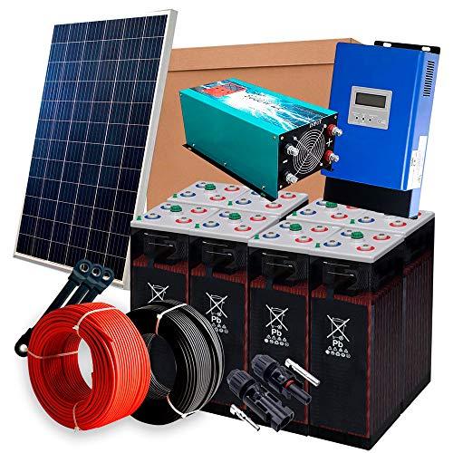 Solar-Kit 12 V 1.800 W / 9.000 W Tag + 12 Panels + 8 Akkus 8OPzS 1200 Ah + Laderegler MPPT 60 A + Wechselrichter 5.000 W reine Welle mit Ladegerät 80 A
