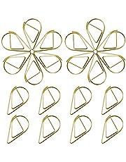 150 stuks paperclips, goud, waterdruppelvorm, kleine papieren clips van metaal voor school of kantoor, bladwijzer voor boeken, memofoto (1,5 x 2,5 cm)