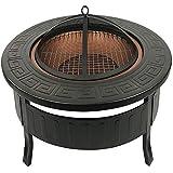 Brasero RayGar 3en 1- Feu en extérieur, barbecue et bac à glaçons - En métal - Housse de protection incluse FP34 noir