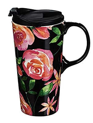 Pink Blossoms At Night Lidded To Go Cup