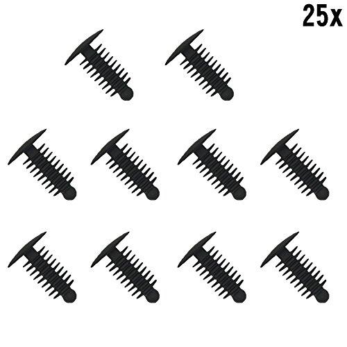 Muchkey® 1 x 25 rivets en plastique pour garniture de portière, 6,4 × 19 mm.