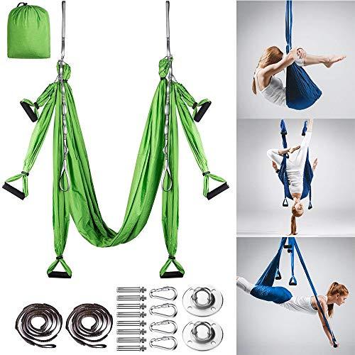 MQSS Yoga Schaukel Erwachsene Yoga Tuch hängen Schaukel Yoga Tuch Anti-Gravity-Yoga Air Fliegen Hängematte Set für Pilates Gymnastik Fitnessgreen