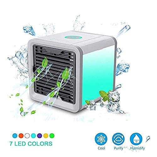 WENZHEN Mini Aires acondicionados de Aire con Aire Acondicionado de Mesa portátil Refrigerador de Aire con Ventilador portátil Colores de Ventilador LED Luz Nocturna para