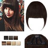 Frange A Clip Cheveux Naturel Lisse 2 Brun Foncé Vrai Cheveux Invisible Frange Clip Frange A Plat Volume Normal Avec Tempes Clip In Fringe