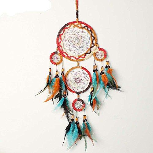 SKJIND, acchiappasogni indiano, con ciondolo a forma di piuma, a 5 cicli, colore turchese