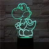 Lampara LED Videojuego Yoshi Super Mario Cambia Color USB Luz nocturna y decoración