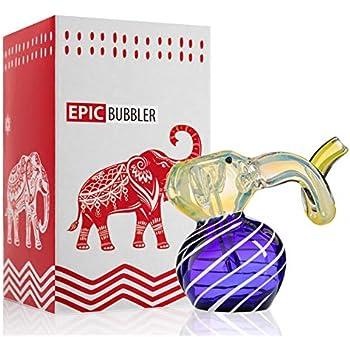 Glass Bubbler Glass Elephant Device Silver Fumed-Dark Blue, 5 Inch
