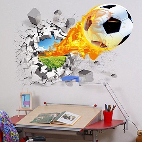 U-Shark 3D Self-Adhesive Removable Break Through The Wall Vinyl Football Soccer Wall Stickers/Murals Art Decals Decorator as Kids Birthday Gift (Flying Fire Football (19.7 X 27.6/ 50 X 70cm))