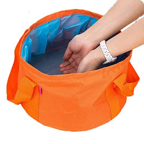 CZXXH Klappbare Waschbecken Im Freien Becken Eimer FÜR Camping Wandern Reisen Angeln Waschen Tragbare Becken 15L,Orange