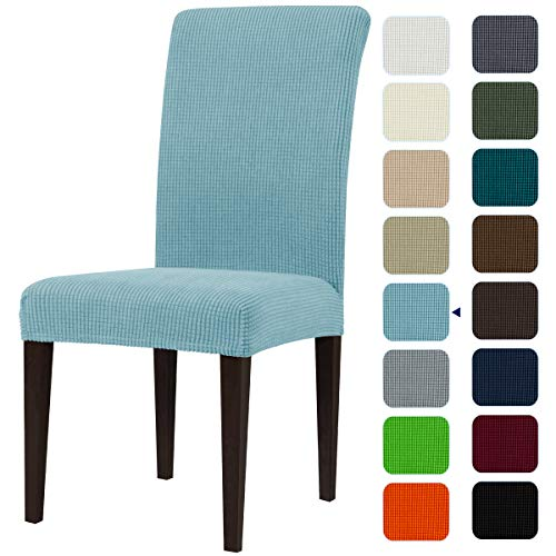 subrtex Dining Room Chair Slipcovers Sets Stretch Furniture Protector Covers for Armchair Removable Washable Elastic Parsons Seat Case for Restaurant Hotel Ceremony(2,Steel Blue)