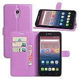 HualuBro Alcatel Pixi 4 (6 Zoll) 3G Hülle, Leder Brieftasche Etui Tasche Schutzhülle HandyHülle [Standfunktion] Lederhülle Flip Case Cover für Alcatel OneTouch Pixi4 6.0 Zoll 3G 8050D (Violett)