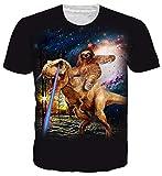 Goodstoworld Dinosaurio T Shirt 3D Galaxy Print Hombres Mujeres Verano Casual de Manga Corta Camiseta tee Personalizado Ropa pequeña