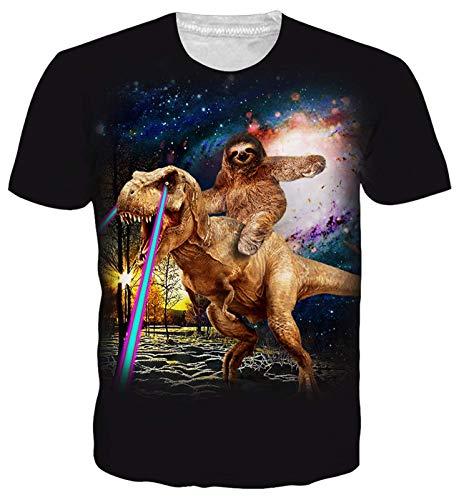 Goodstoworld Mens Womens Personalizado Camiseta Verano Perezoso de Dinosaurios 3D Print Casual de Manga Corta Camiseta tee Tops Grandes