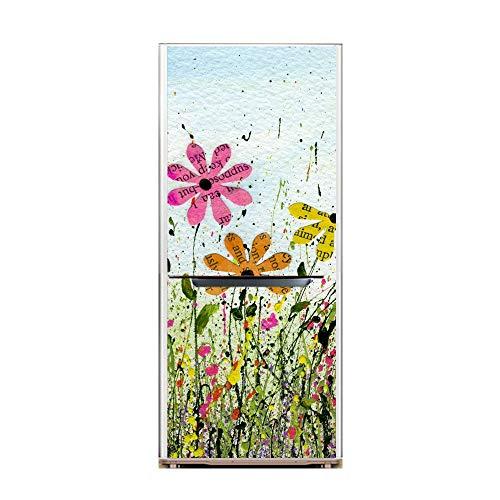 XIAOMAN Adesivi per frigo da Cucina Coreopsis HD Frigorifero Wrap Cover Rimovibile Autoadesivo Fai da Te Art Decal (Color : Multi-Colored, Size : 60 * 180cm)