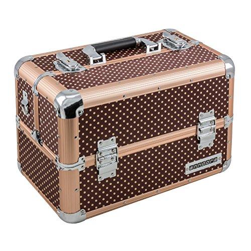 anndora Beauty Case Kosmetikkoffer Schmuckkoffer 21 Liter Alu braun mit Punkten