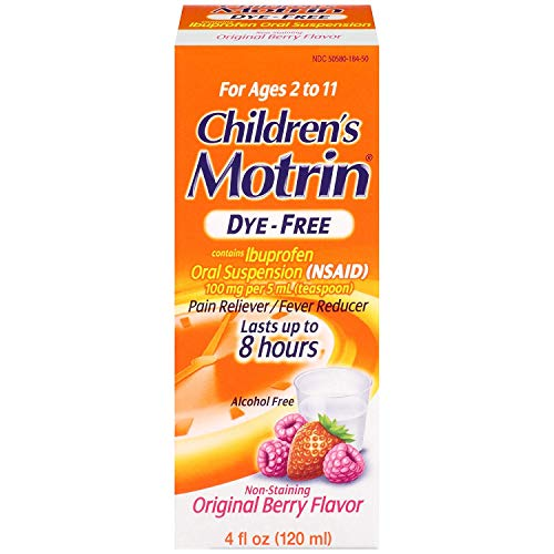 Motrin Children's DyeFree Pain Reliever and Fever Reducer, 4 Fluid Ounce (5 Pack)