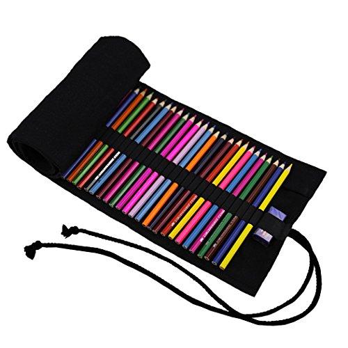 Amoyie - Sacchetto della matita portamatite arrorolabile per 72 matite colorate porta penne tela wrap borse organizer astuccio portapenne scuola cassa del supporto di matita viaggio (Nota: No Penne)